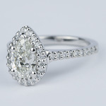 Flawless Pear Diamond Halo Engagement Ring (1.25 Carat) - small angle 2