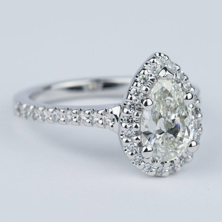 Flawless Pear Diamond Halo Engagement Ring (1.25 Carat) angle 3