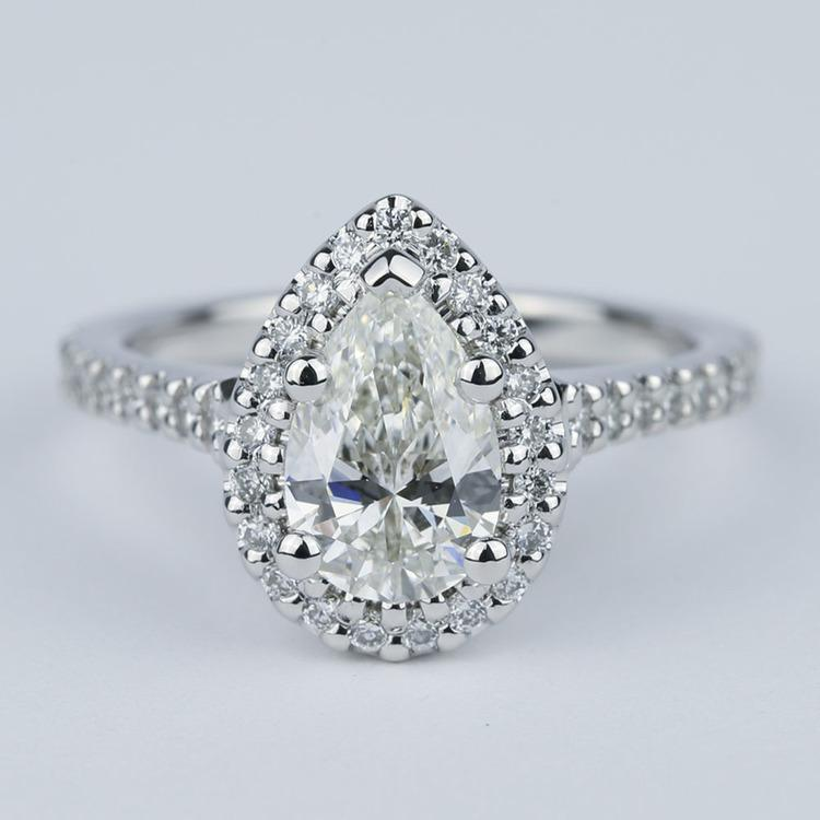 Flawless Pear Diamond Halo Engagement Ring (1.25 Carat)
