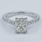 1.24 Carat Radiant Cut Diamond Engagement Ring with French-Cut Pave - small