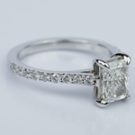 1.24 Carat Radiant Cut Diamond Engagement Ring with French-Cut Pave - small angle 3