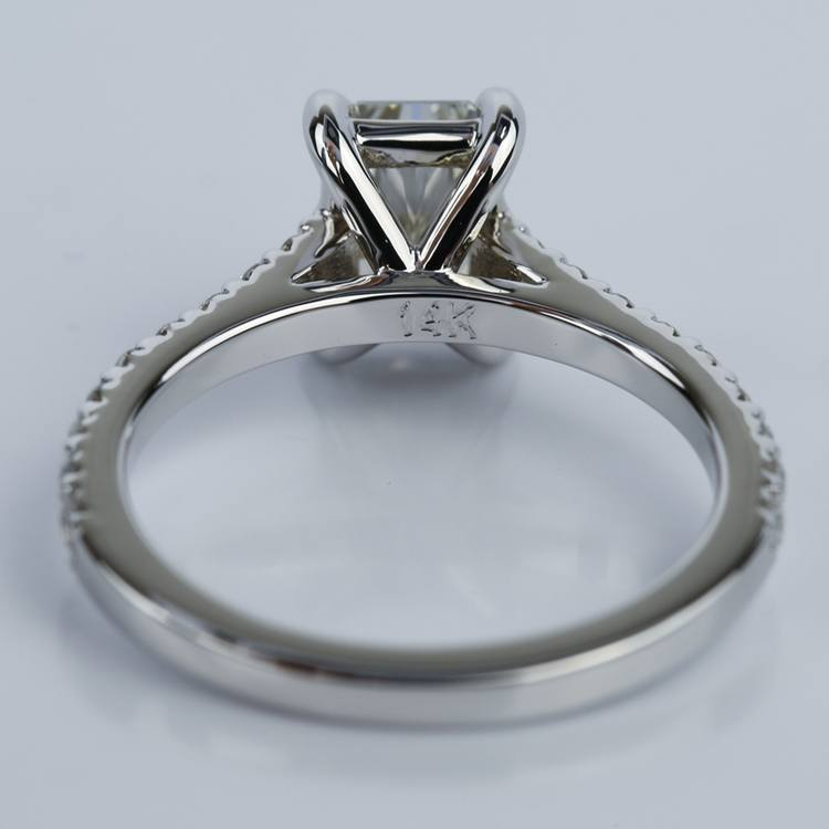 1.24 Carat Radiant Cut Diamond Engagement Ring with French-Cut Pave angle 4