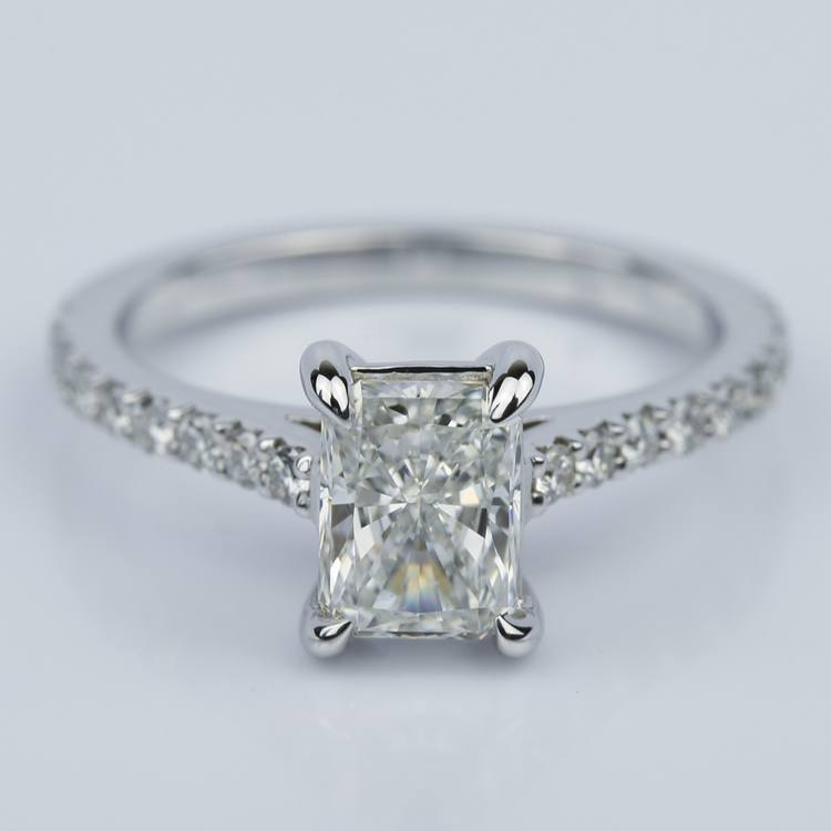 1.24 Carat Radiant Cut Diamond Engagement Ring with French-Cut Pave