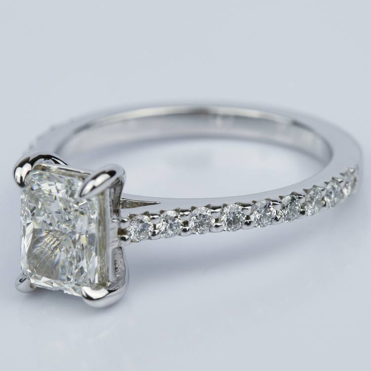 1.24 Carat Radiant Cut Diamond Engagement Ring with French-Cut Pave angle 2