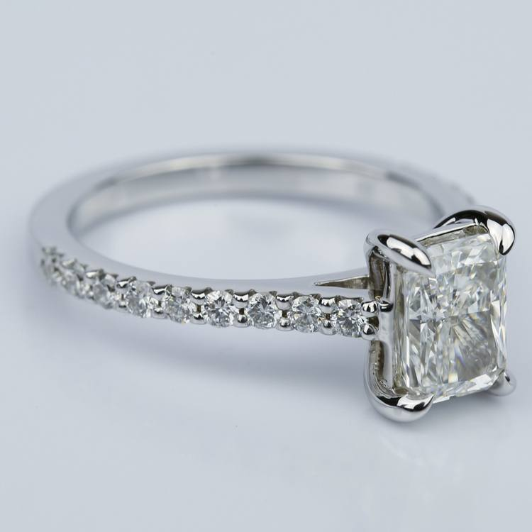 1.24 Carat Radiant Cut Diamond Engagement Ring with French-Cut Pave angle 3