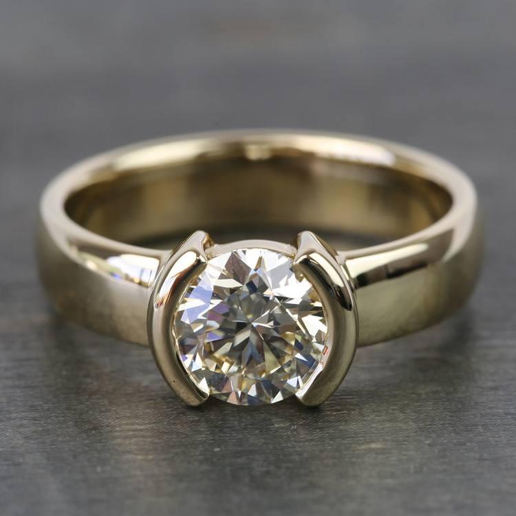 1.24 Carat Round Half Bezel Diamond Engagement Ring