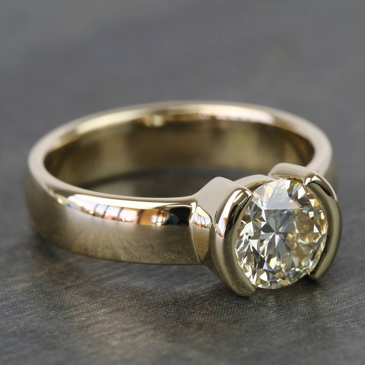 1.24 Carat Round Half Bezel Diamond Engagement Ring angle 2