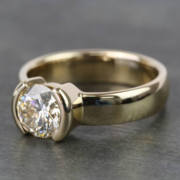 1.24 Carat Round Half Bezel Diamond Engagement Ring angle 3