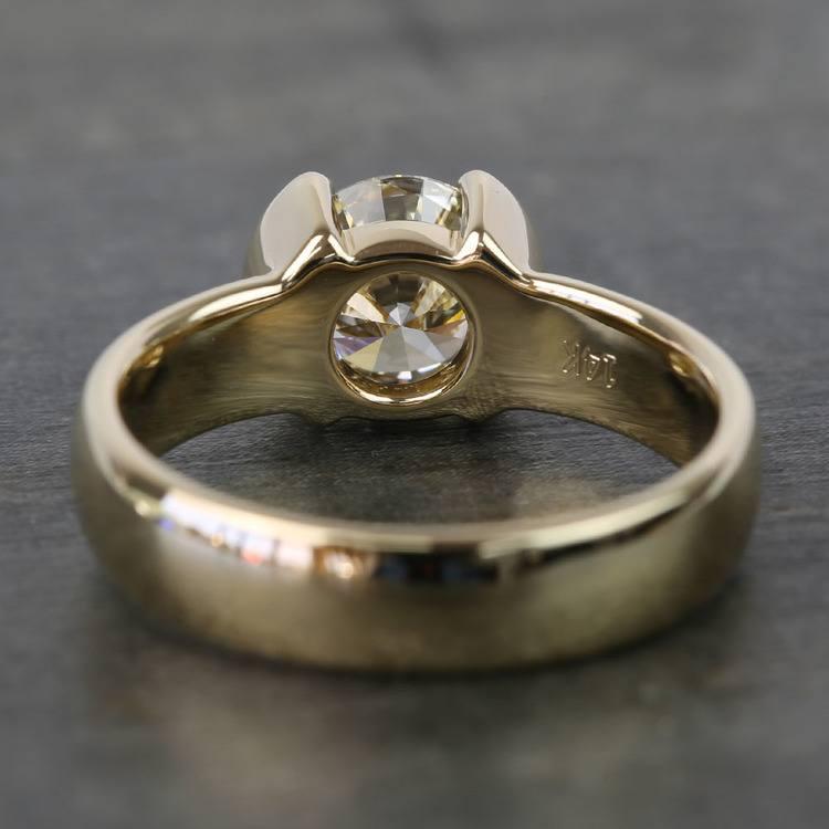 1.24 Carat Round Half Bezel Diamond Engagement Ring angle 4