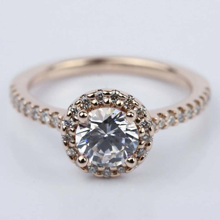 1.25 Carat Diamond Halo Engagement Ring in Rose Gold