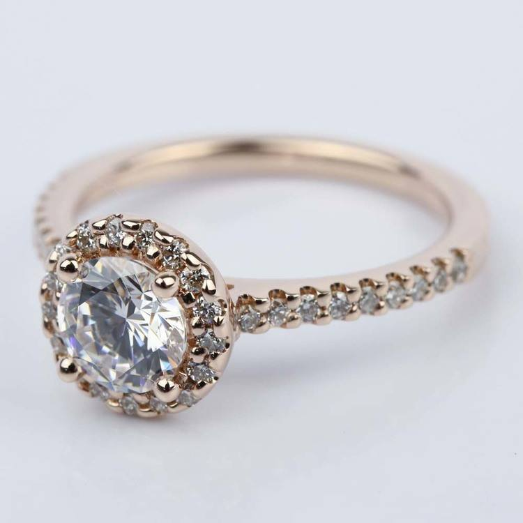 1.25 Carat Diamond Halo Engagement Ring in Rose Gold angle 2