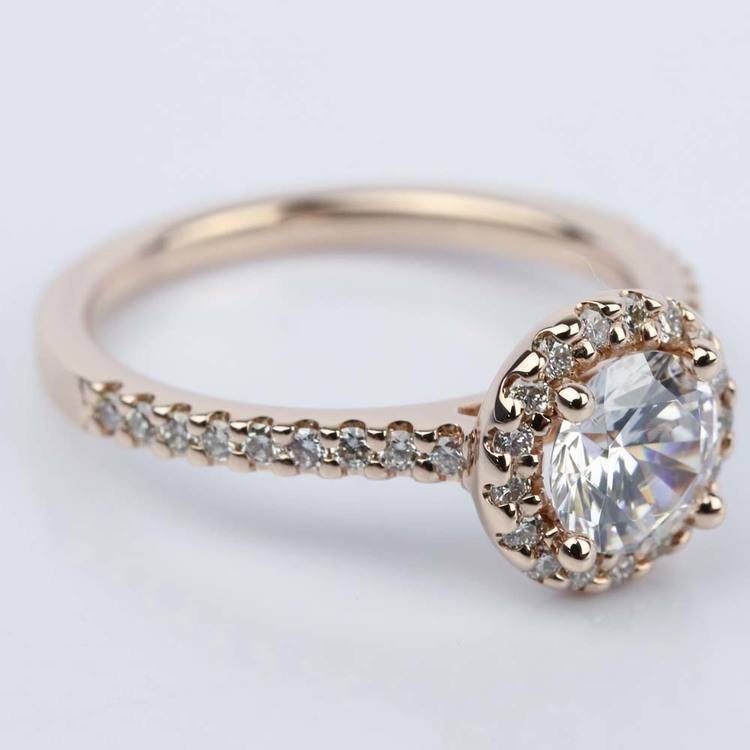 1.25 Carat Diamond Halo Engagement Ring in Rose Gold angle 3
