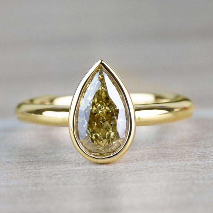 1.25 Carat Fancy Yellow Pear Diamond Bezel Solitaire Engagement Ring