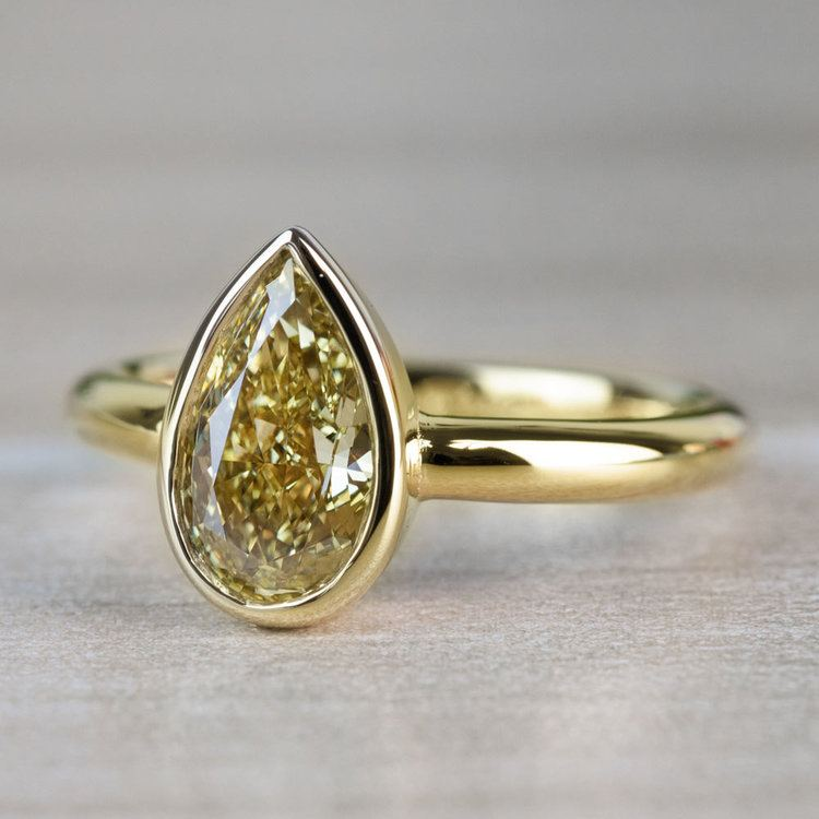 1.25 Carat Fancy Yellow Pear Diamond Bezel Solitaire Engagement Ring angle 2