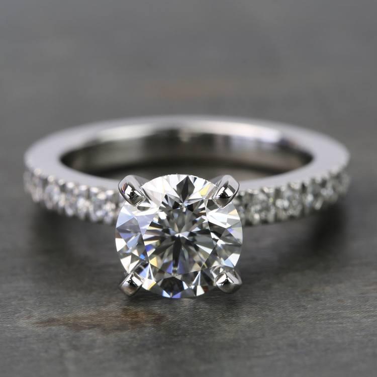 1.25 Carat Round Petite Pave Diamond Engagement Ring