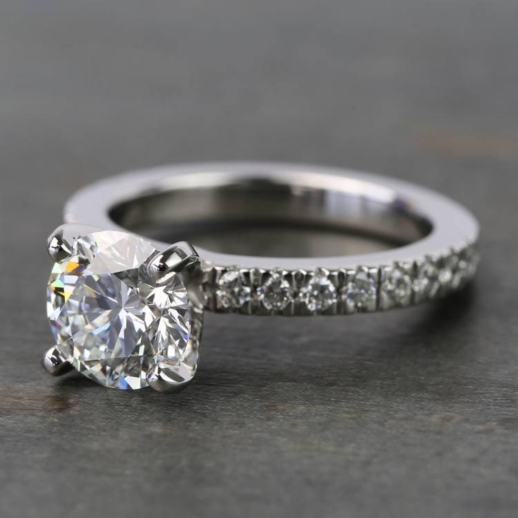 1.25 Carat Round Petite Pave Diamond Engagement Ring angle 2