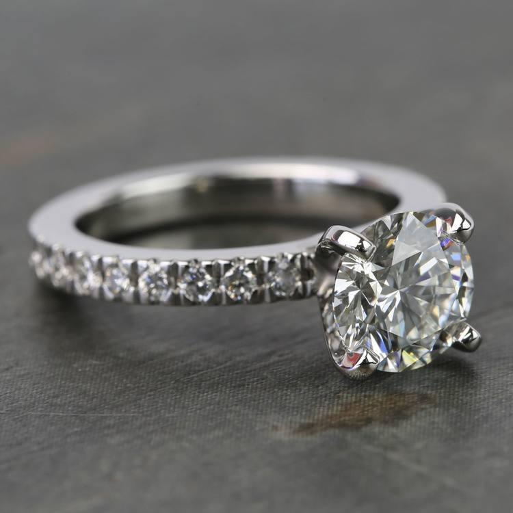 1.25 Carat Round Petite Pave Diamond Engagement Ring angle 3