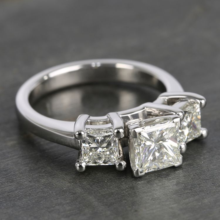 Three-Stone Princess Diamond Engagement Ring (2.25 Carat) angle 3