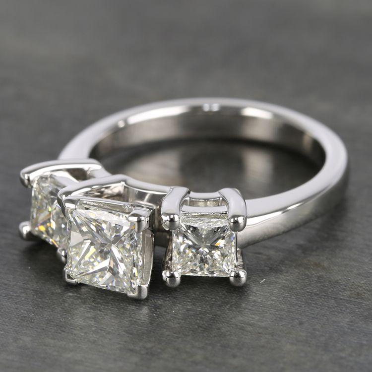 Three-Stone Princess Diamond Engagement Ring (2.25 Carat) angle 2