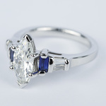 Custom Baguette Diamond & Sapphire Ring with Marquise Center - small angle 2