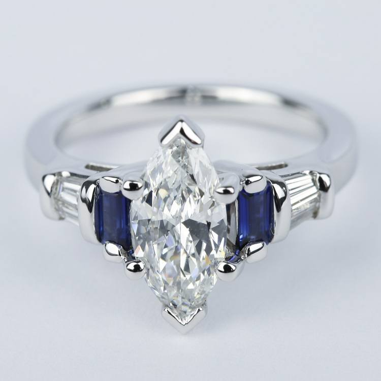 custom baguette diamond  u0026 sapphire ring with marquise center