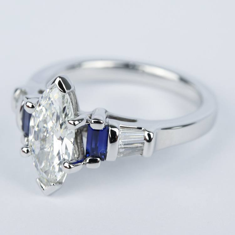 Custom Baguette Diamond & Sapphire Ring with Marquise Center angle 2