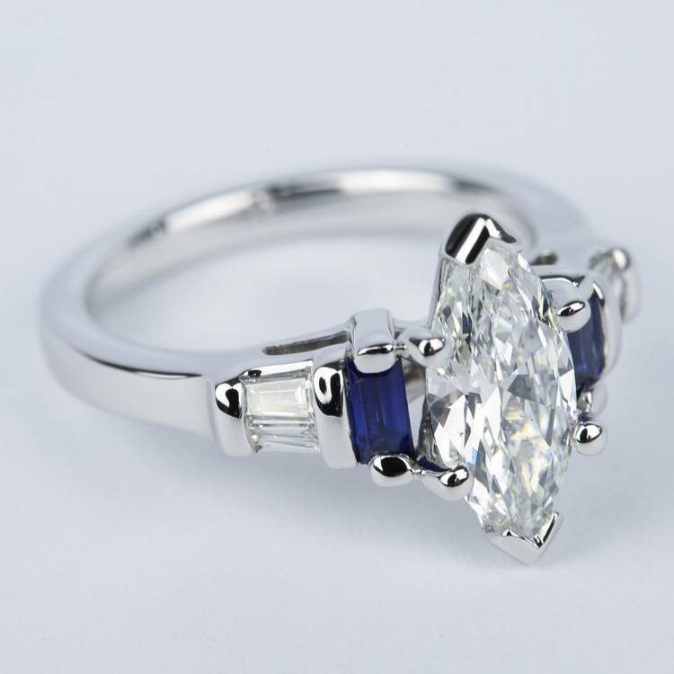 Custom Baguette Diamond & Sapphire Ring with Marquise Center angle 3