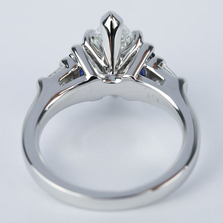 Custom Baguette Diamond & Sapphire Ring with Marquise Center angle 4