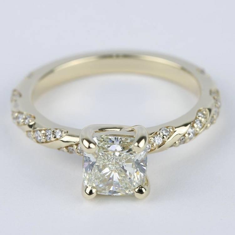 1.30 Carat Cushion Twisted Diamond Engagement Ring