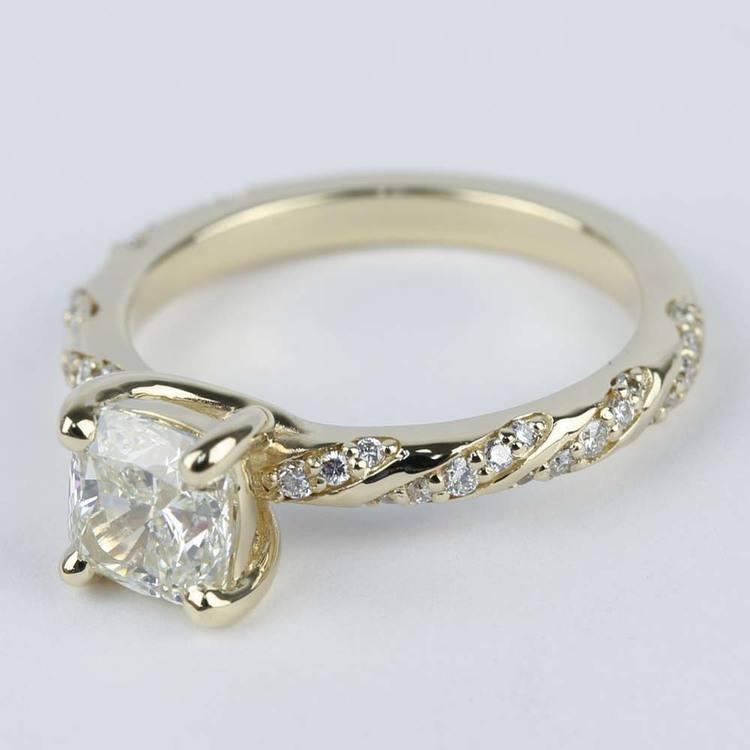 1 30 Carat Cushion Twisted Diamond Engagement Ring