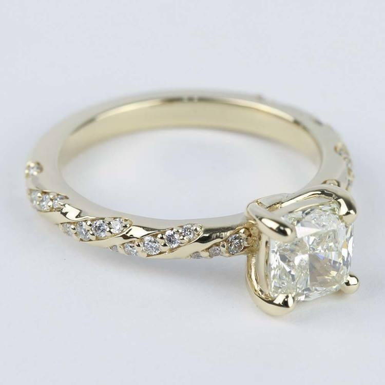 1.30 Carat Cushion Twisted Diamond Engagement Ring angle 3