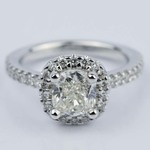 1.31 Carat Cushion Cut Diamond Halo Engagement Ring - small