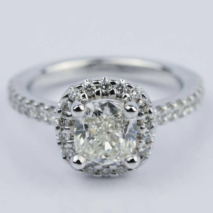 1.31 Carat Cushion Cut Diamond Halo Engagement Ring