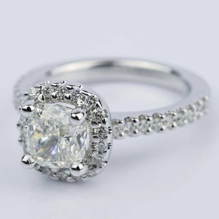 1.31 Carat Cushion Cut Diamond Halo Engagement Ring angle 2