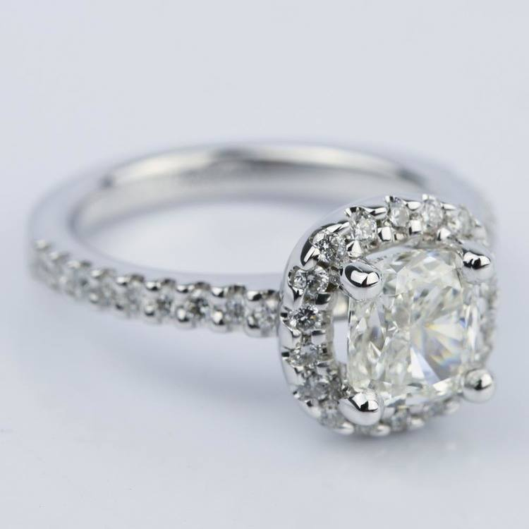1.31 Carat Cushion Cut Diamond Halo Engagement Ring angle 3