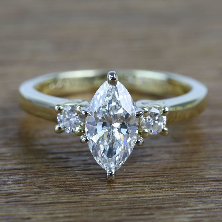 1.33 Carat Marquise & Round Diamond Engagement Ring