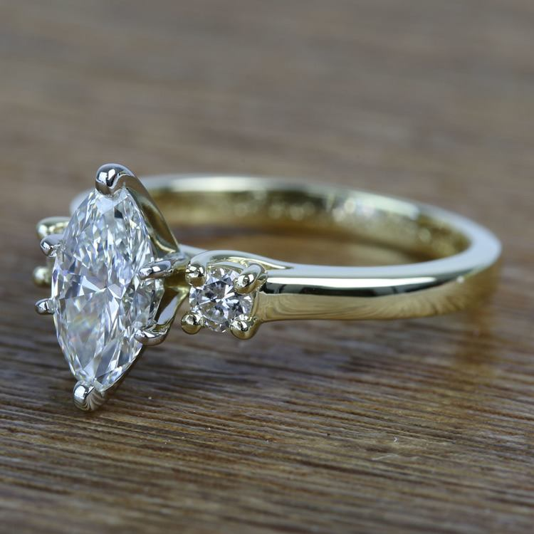 1.33 Carat Marquise & Round Diamond Engagement Ring angle 2