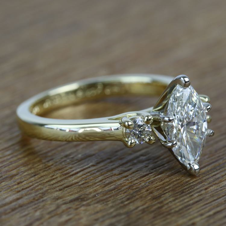 1.33 Carat Marquise & Round Diamond Engagement Ring angle 3