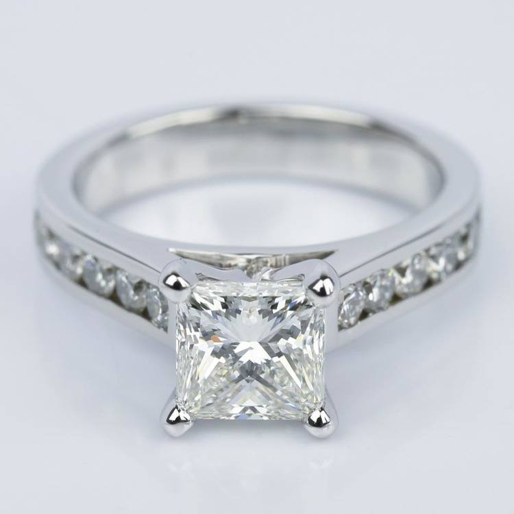 Princess Cut Diamond with Channel Engagement Ring