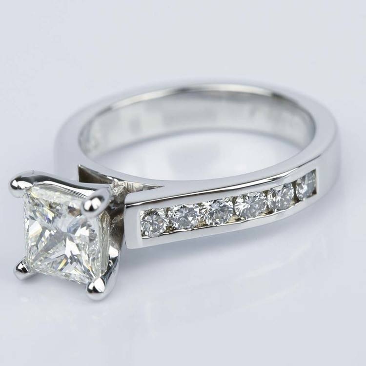 Princess Cut Diamond with Channel Engagement Ring angle 2