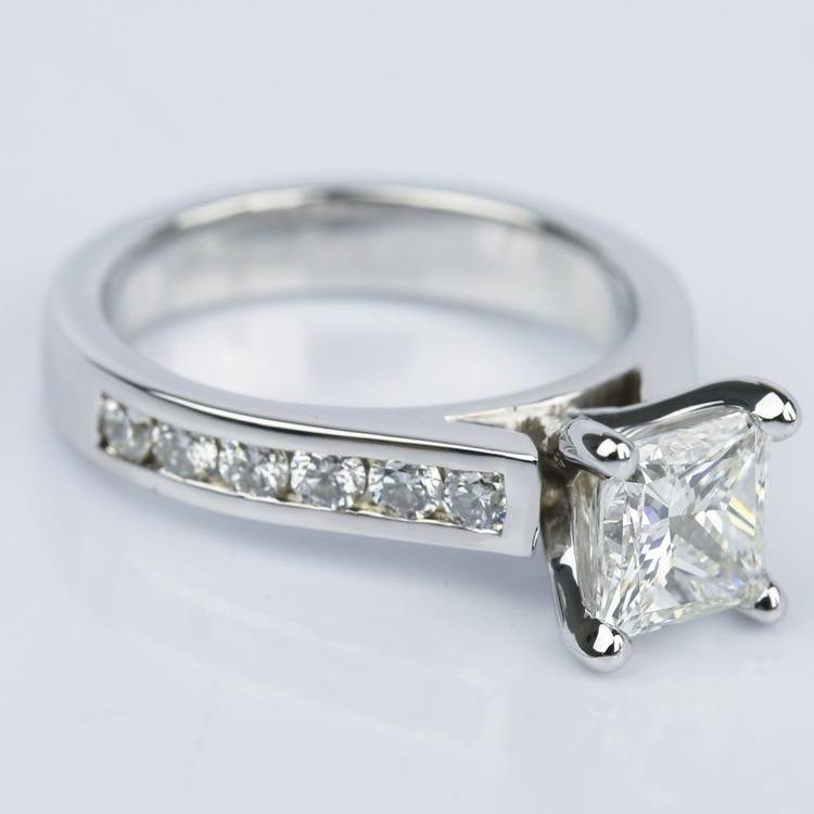 Princess Cut Diamond with Channel Engagement Ring angle 3