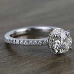 Custom Hidden Diamond Halo Engagement Ring (1.40 Carat) - small angle 3