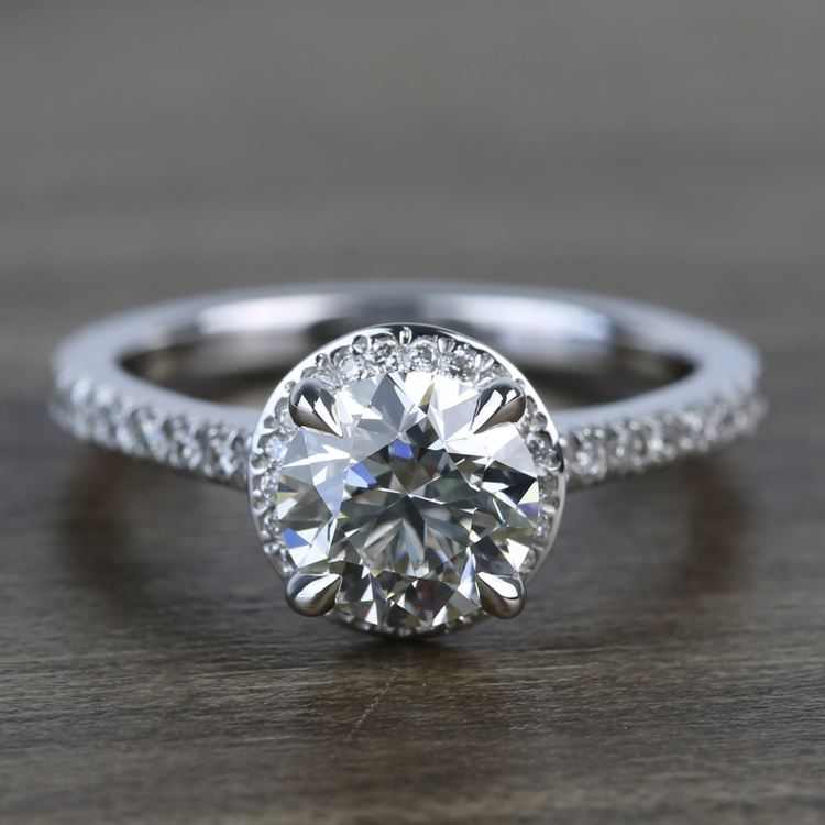 Custom Hidden Diamond Halo Engagement Ring (1.40 Carat)