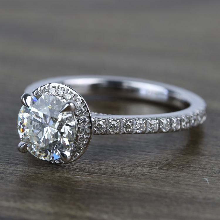 Custom Hidden Diamond Halo Engagement Ring (1.40 Carat) angle 2