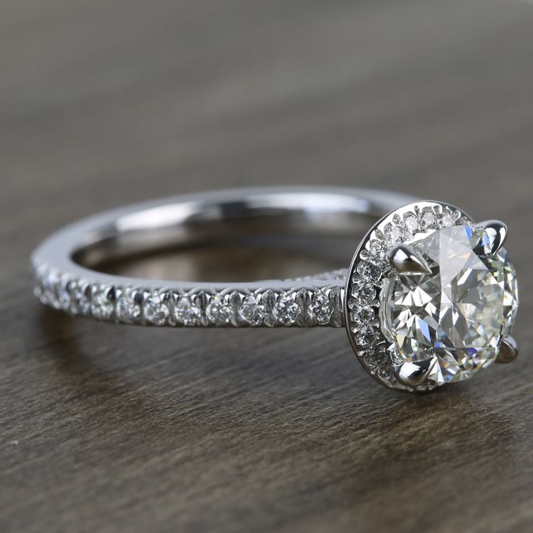 Custom Hidden Diamond Halo Engagement Ring (1.40 Carat) angle 3