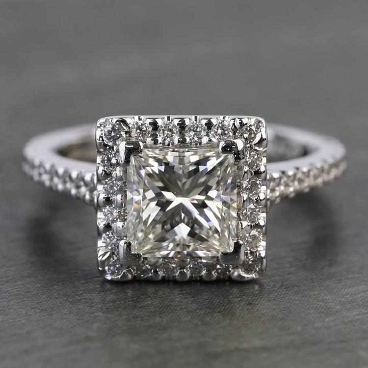 1.41 Carat Princess Halo Diamond Engagement Ring