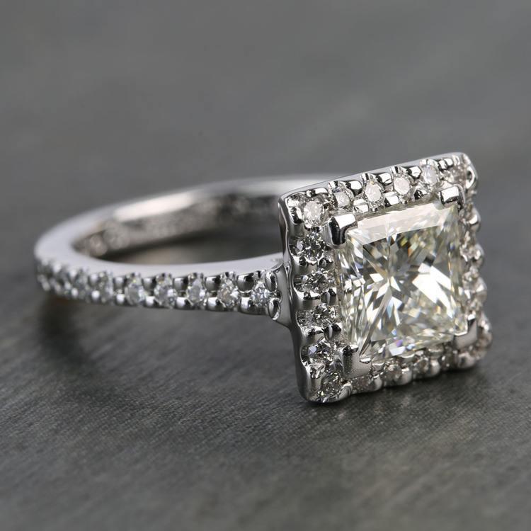 1.41 Carat Princess Halo Diamond Engagement Ring angle 3