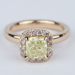 Fancy Yellow Cushion Diamond Engagement Ring in Rose Gold Halo - small