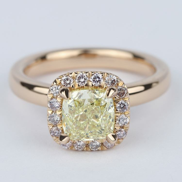Fancy Yellow Cushion Diamond Engagement Ring in Rose Gold Halo