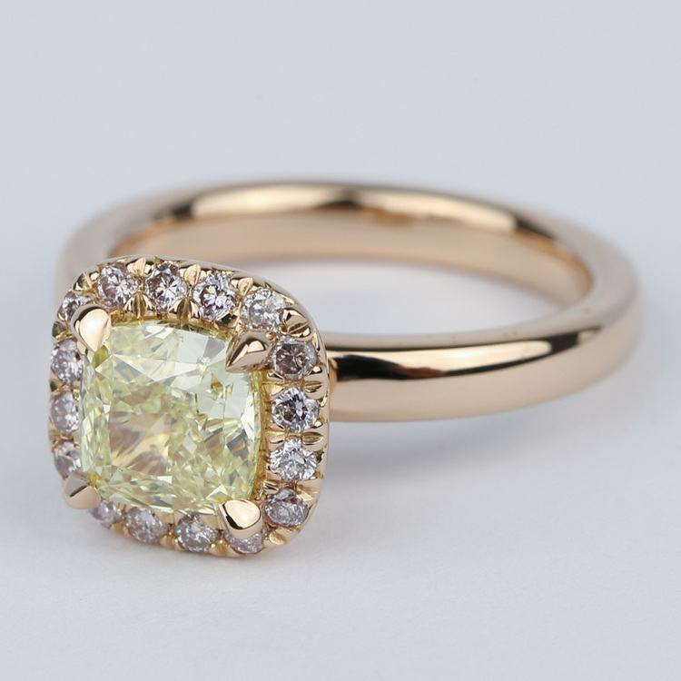 Fancy Yellow Cushion Diamond Engagement Ring in Rose Gold Halo angle 2